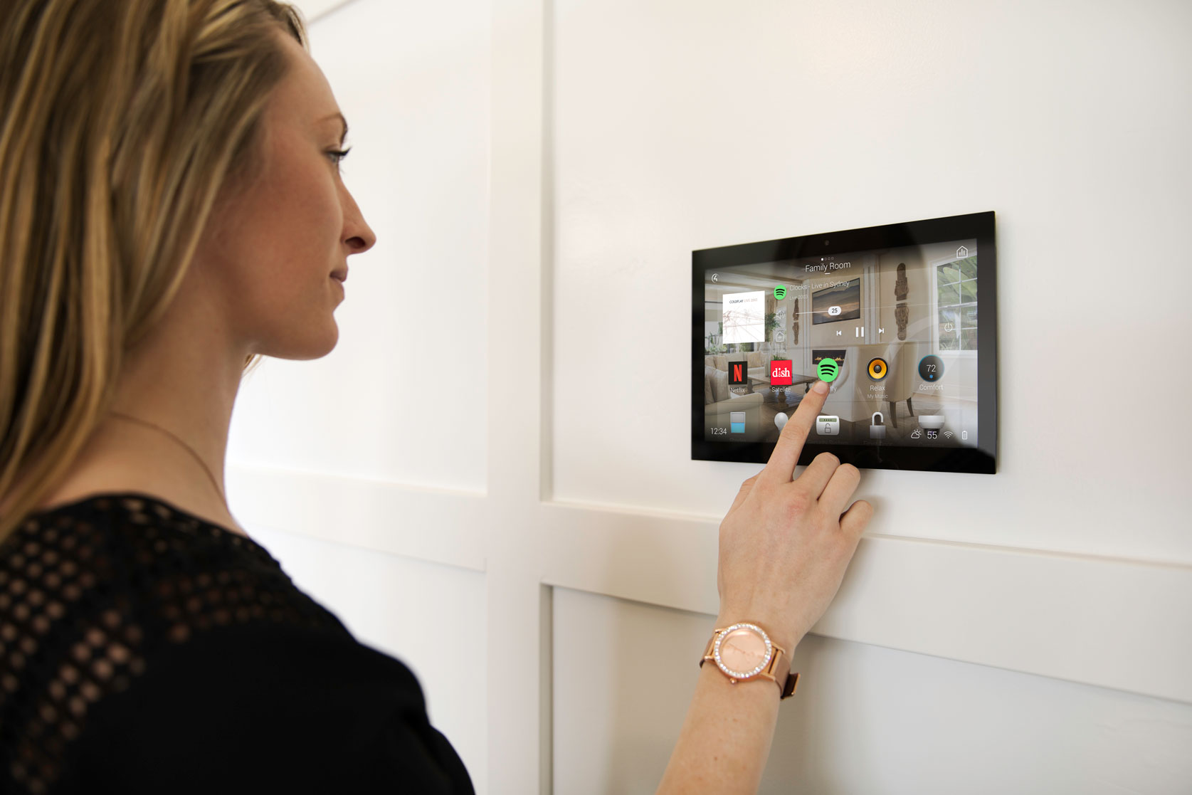 control4 touch screen on wall woman
